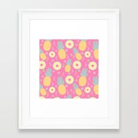 pinapple Framed Art Prints featuring Pink Pinapple by KattyB