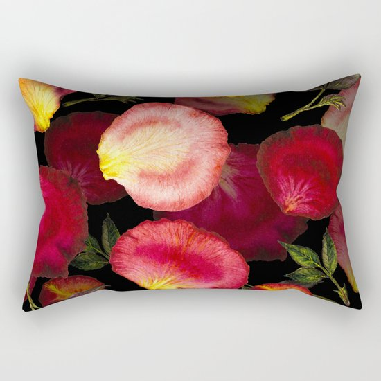 Rose Petal Pattern on Black 02 Rectangular Pillow