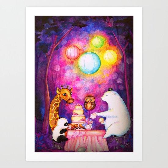 Woodland Tea Party Art Print