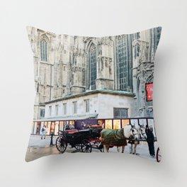 Horse Carriage Church Vienna Austria Throw Pillow
