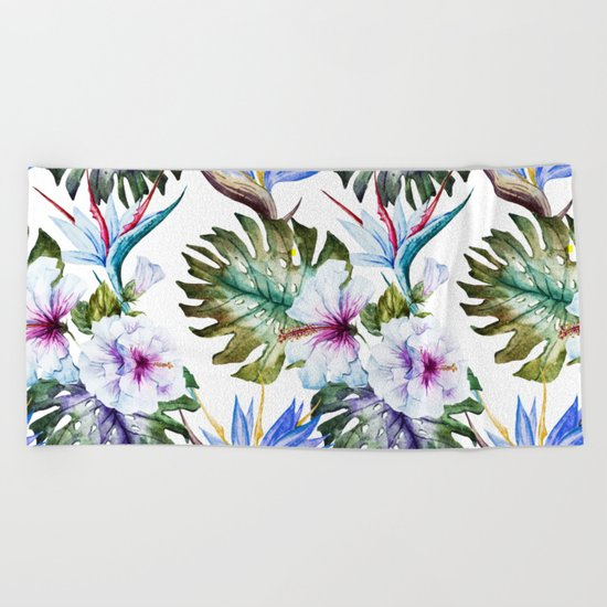 Watercolor Tropical Hibiscus Beach Towel