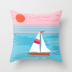 Mellow Out - memphis throwback retro classic neon yacht boating sailboat ocean sea 1980s 80s pop art Throw Pillow