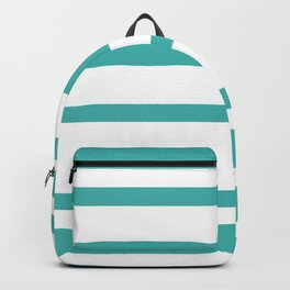 Mixed Horizontal Stripes - White and Verdigris Backpack