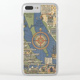 Art Deco Map Clear iPhone Case