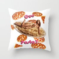 pasta Throw Pillows featuring Que Pasta? by themattpeterson
