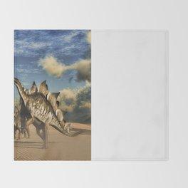 Stegosaurus dinosaur in the desert Throw Blanket