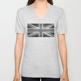 UK flag, High quality 1:2 Vintage Unisex V-Neck