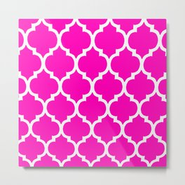 MOROCCAN PINK AND WHITE PATTERN Metal Print