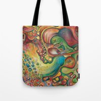 gumball Tote Bags featuring Gumball by Dena Nord