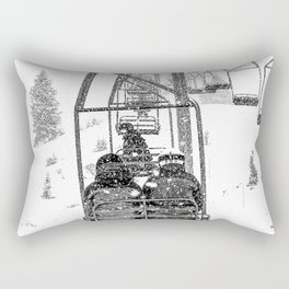 Snow Lift // Ski Chair Lift Colorado Mountains Black and White Snowboarding Vibes Photography Rectangular Pillow