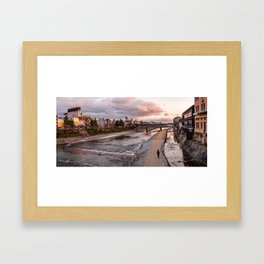 Evening walk along the Kamo River in Kyoto Framed Art Print