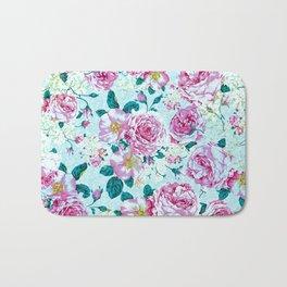 Vintage modern pink green teal watercolor floral Bath Mat