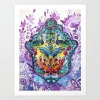 hamsa Art Prints featuring Hamsa by oxana zaika