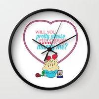 sandra dieckmann Wall Clocks featuring The proposal.. pretty please with cherries on top.. sandra bullock by studiomarshallarts