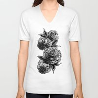 roses V-neck T-shirts featuring Four Roses by BIOWORKZ