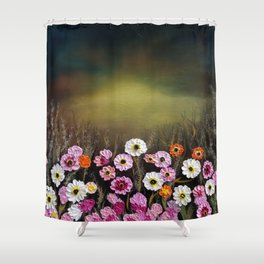 Stormy flowers Shower Curtain