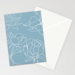 Roses, Line Drawing, White on Pale Blue Stationery Cards