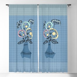 Quilling, flowers in vase Blackout Curtain