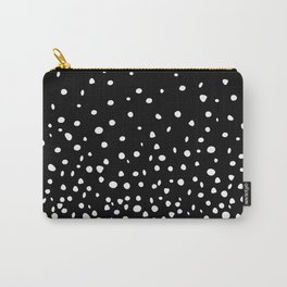 White Polka Dot Rain on Black Carry-All Pouch