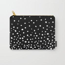White Polka Dot Rain on Black Carry-All Pouch