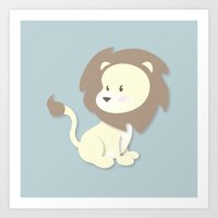 nursery Art Prints featuring Nursery Lion by DarkSemanyk