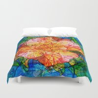 reassurance Duvet Covers featuring Flower III by Magdalena Hristova