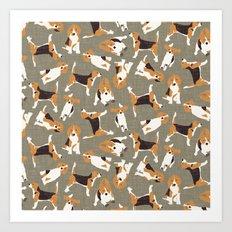 beagle scatter stone Art Print