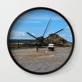 Boat at low tide - Bude, England Wall Clock