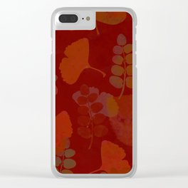 leaves, leaf red tones, combinable, warm winter summer pattern Clear iPhone Case