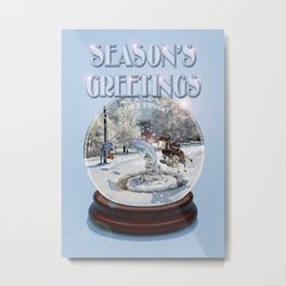 Blue Christmas Greeting Card Metal Print