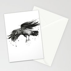 Raven Watercolor Bird Painting Black Animals Stationery Cards