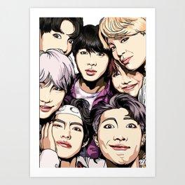 Bts Group photo watercolor art Art Print