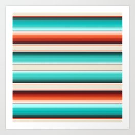 Navajo White, Turquoise and Burnt Orange Southwest Serape Blanket Stripes Art Print