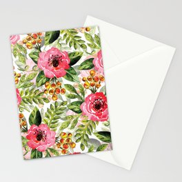 Loose Watercolor & Ink Floral Pattern In Pink, Green, Yellow & Orange Stationery Cards