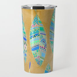 Jeweled Enamel Leaves on Tan Travel Mug