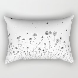 Daisy Flowers Black and White Rectangular Pillow