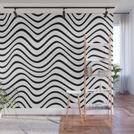Wavy lines - White Wall Mural