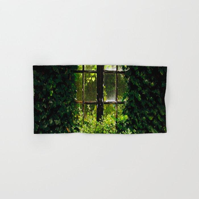 Green idyllic overgrown cottage garden window Hand & Bath Towel