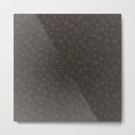 Sketchy Coffee and Tea Mugs on a Brown Background! Metal Print