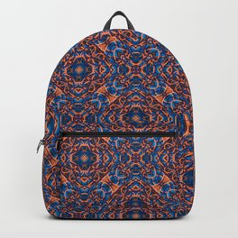Bright Blue and Orange Beadwork Inspired Pattern Backpack