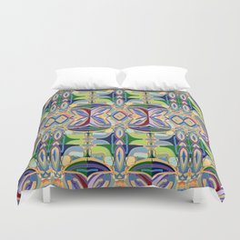 Butterfly mosaic - brightly colored pattern Duvet Cover