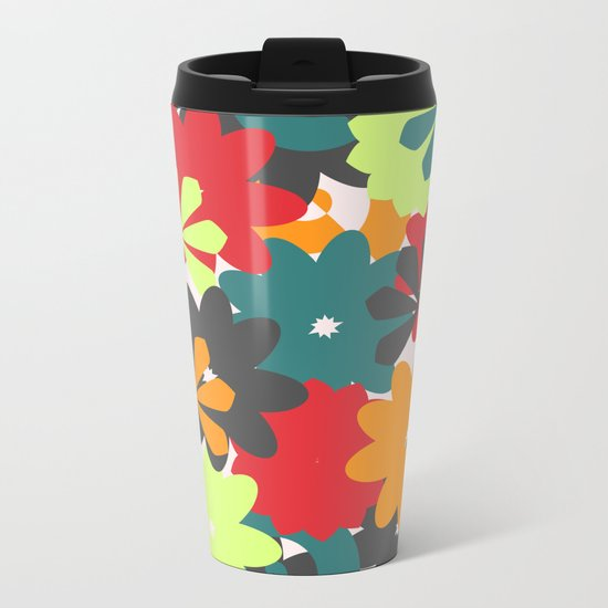 Colorful floral garden Metal Travel Mug