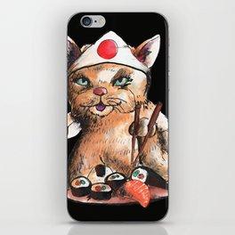 cat eating japanese food iPhone Skin