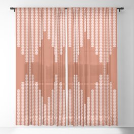 Moon Phases Pattern in Terracotta and Rose Gold Sheer Curtain