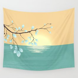 Delicate Asian Inspired Image of Pastel Sky and Lake with Silver Leaves on Branch Wall Tapestry