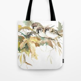 Sparrows and Fall Tree, three birds, brown green fall colors Tote Bag