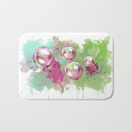 Soap bubbles in the sky watercolor painting Bath Mat