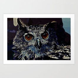 owl strix bird v2 vector art foggy night Art Print