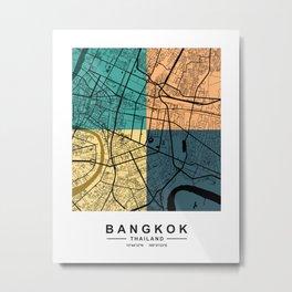 Bangkok Thailand Colorful Street Map Metal Print
