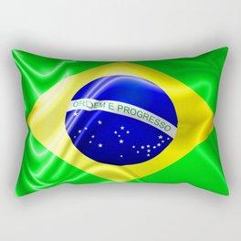 Brazil Flag Waving Silk Fabric Rectangular Pillow